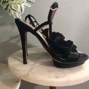 BADGLEY MISCHKA | Black Open Toe Blossom Heel